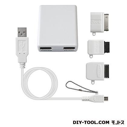 AC充電器 USB2ポート 2.1A microUSB充電ケーブル マルチ (AJ-423)
