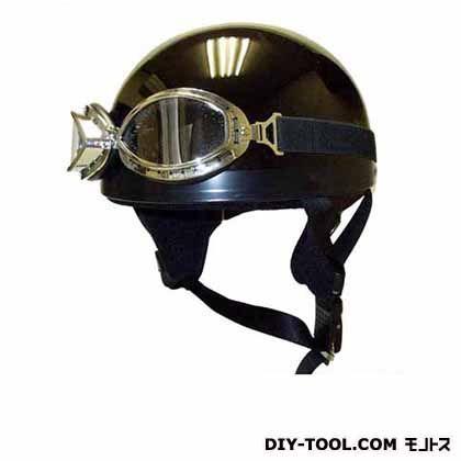 ゴーグル付ビンテージヘルメット メタリックブラック (KV-5MG)