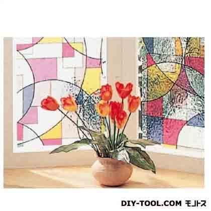 窓飾りシート(ステンド調) レッド 46cm丈×90cm巻 (GLS-4652)