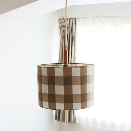 トリコ 3灯木付きソケット付きペンダントランプ 電球なし チェック/ベージュ 直径32H22cm (001787)