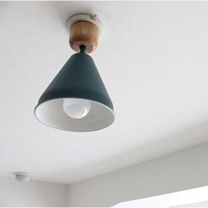 メルクロス カラー&ウッド 1灯シーリングランプ 電球なし ブルーグリーン 直径17H27cm 001841