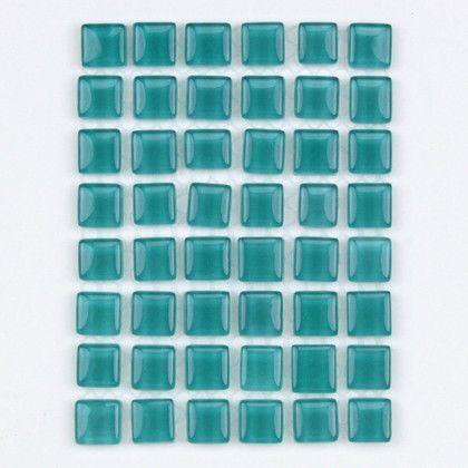 裏面ネット張りガラスモザイクタイル ピーコックグリーン タイル全体横幅:95mm 縦幅70mm MKG-1069