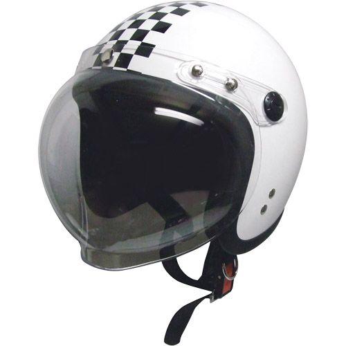 スモールジェットヘルメット 回転BBシールド付 ホワイト/チェック フリー 79122022