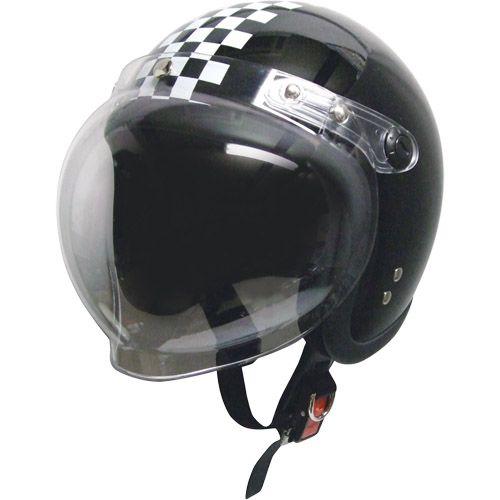 スモールジェットヘルメット 回転BBシールド付 ブラック/チェック フリー 79122023