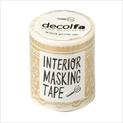 インテリアマスキングテープ ダマスク/ライトゴールド 50mm×8m M3606