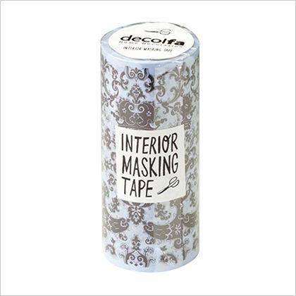 インテリアマスキングテープ ダマスク/パープル 100mm×8m M3704