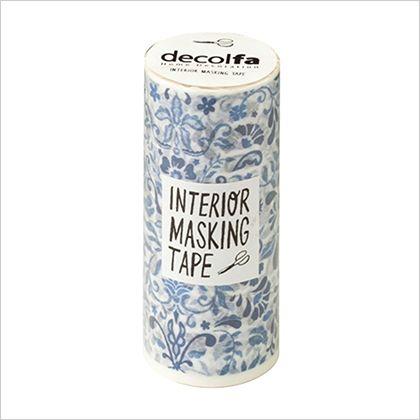インテリアマスキングテープ ダマスク/ブルー 100mm×8m (M3706)