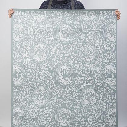 夏水組セレクション 獅子地紋 ふすま紙 藍鼠(あいねず) 紙全体サイズ200cm×97cm FS101 1 枚