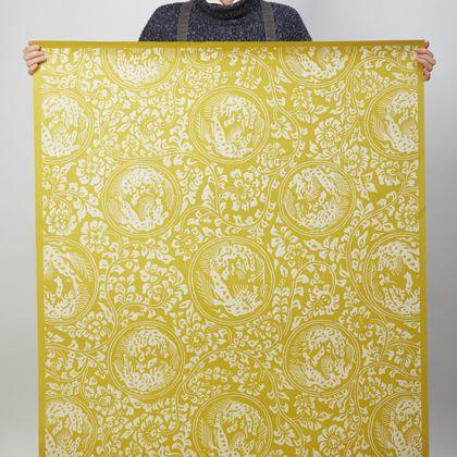 夏水組セレクション 獅子地紋 ふすま紙 唐子(からし) 紙全体サイズ200cm×97cm FS102 1 枚