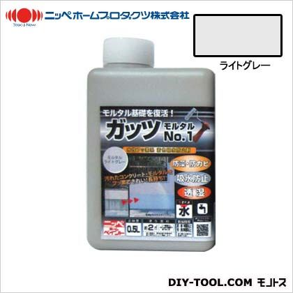 ガッツモルタルNO.1 水性フッ素系 着色吸水防止剤 ライトグレー 0.5kg