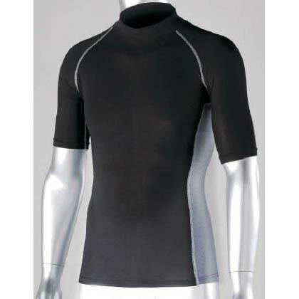 冷感・消臭 パワーストレッチ 半袖ハイネックシャツ ブラック L JW-624