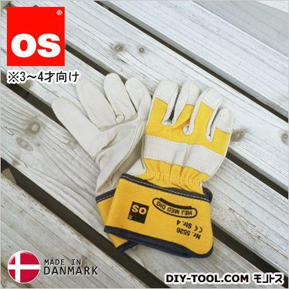 キッズワークグローブ 3~4才向け 子供用革手袋(作業用皮手袋) 黄 S 5526040