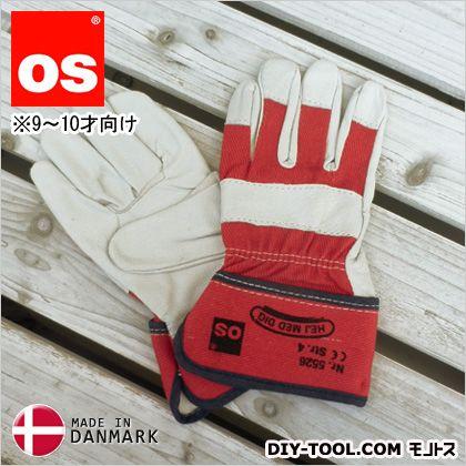 キッズワークグローブ 9~10才向け 子供用革手袋(作業用皮手袋) 赤 M 5526050