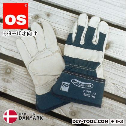 キッズワークグローブ 9~10才向け 子供用革手袋(作業用皮手袋) 青 M 5526050