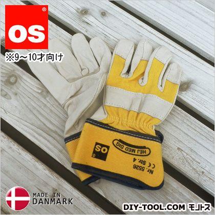 キッズワークグローブ 9~10才向け 子供用革手袋(作業用皮手袋) 黄 M 5526050