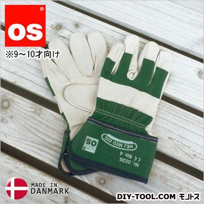 キッズワークグローブ 9~10才向け 子供用革手袋(作業用皮手袋) 緑 M 5526050