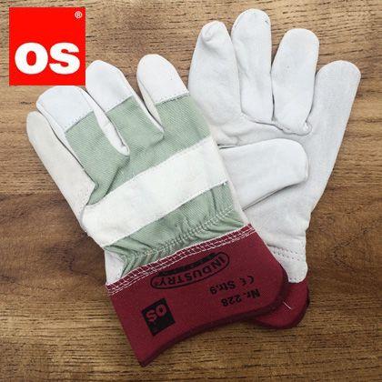 大人用ワークグローブ作業用皮手袋 赤 L 228090
