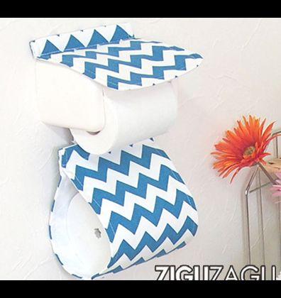 OKATO ペーパーホルダーカバー ZIGUZAGU ブルー  236120
