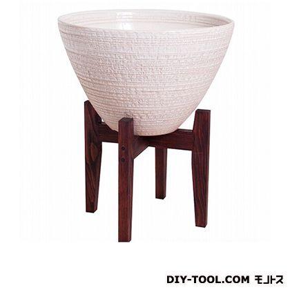 プラスガーデン 睡蓮鉢 シェル木製スタンド付 ホワイト  530-31