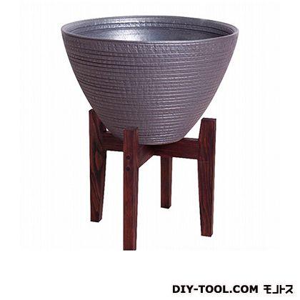 プラスガーデン 睡蓮鉢 シェル木製スタンド付 ブラック  530-32