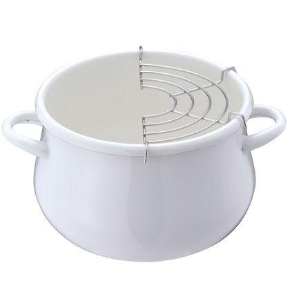 パール金属 プチクック ホーロー天ぷら鍋  HB-1679 ホワイト 16cm 246551