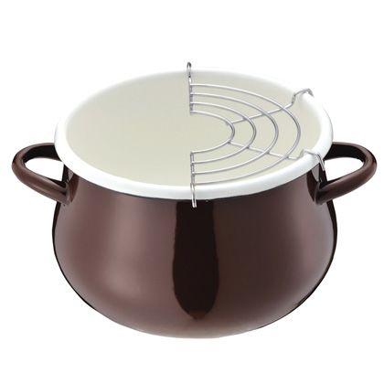 パール金属 プチクック ホーロー天ぷら鍋  HB-1680 ブラウン 16cm 246552