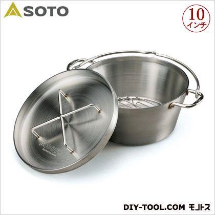 ステンレスダッチオーブン  直径259×深さ115mm(内寸)、幅350×奥行280×高さ160mm(外形)10インチ ST-910