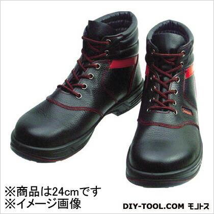 シモン 安全靴 編上靴 黒/赤  24.0cm (SL22R24.0) 樹脂先芯安全靴 安全靴