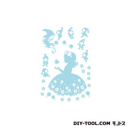サンコーマーク工業 しらゆき姫 ウォールステッカー ブルー  FWS-116-A4  枚