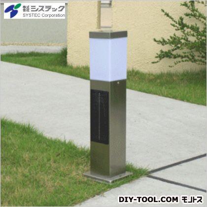 ソーラーポールライト スリム 白色LED シルバー 高さ:50cm幅:13cm奥行:13cm SPL-SL-WHS