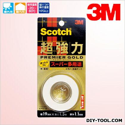 3M(スリーエム) スコッチ 超強力両面テープ プレミアゴールド(スーパー多用途)  19×1.5 KPS-19