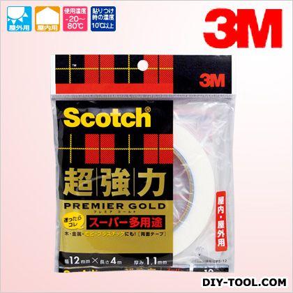 スコッチ 超強力両面テープ プレミアゴールド(スーパー多用途) 12×4 (SPS-12)