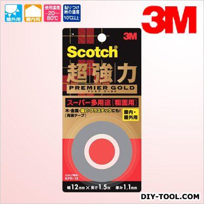3M(スリーエム) スコッチ 超強力両面テープ プレミアゴールド(スーパー多用途) 粗面用  12×1.5 KPR-12