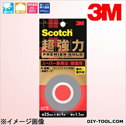 3M(スリーエム) スコッチ 超強力両面テープ プレミアゴールド(スーパー多用途) 粗面用  19×1.5 KPR-19