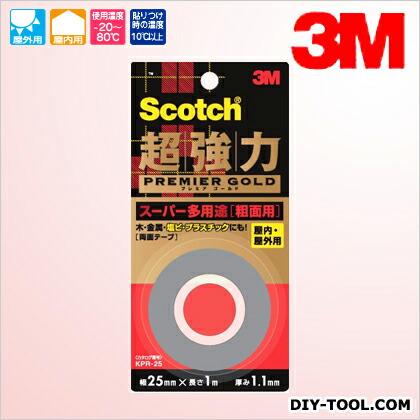 3M(スリーエム) スコッチ 超強力両面テープ プレミアゴールド(スーパー多用途) 粗面用  25×1 KPR-25