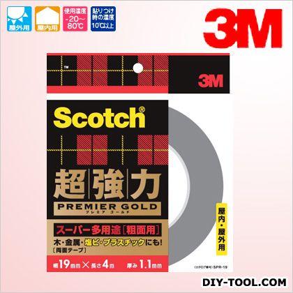 3M(スリーエム) スコッチ 超強力両面テープ プレミアゴールド(スーパー多用途) 粗面用  19×4 SPR-19