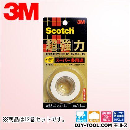 3M(スリーエム) スコッチ 超強力両面テープ プレミアゴールド(スーパー多用途)   KPS-25 12 巻セット
