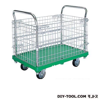 アミかご付運搬台車 (プラスチック製、ハンドル両袖固定 アミかご付、プラスチックキャスター付)  荷台サイズ:460×750mm SC-SSGP-1