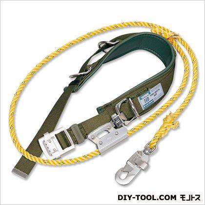14D柱上安全帯 ●胴ベルト:幅45mm×長さ1 200mm  ●補助ベルト:幅85mm×長さ700mm ●ランヤード:直径14mm×長さ2 100mm (14D-2-BX)