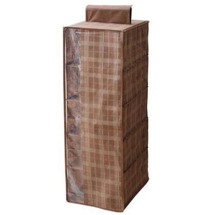 ハンギングラック5段 チェック ブラウン 約幅28×奥行35×高さ80(cm) CHS-HGR5-BR 2