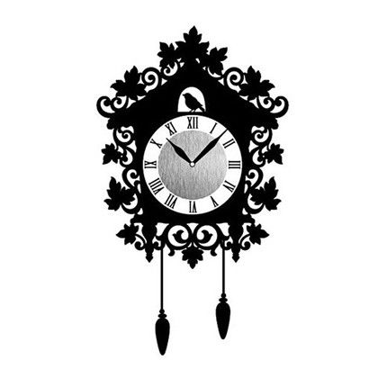 Wall Clock Sticker ウォールクロックステッカー ハウス  時計/約幅10×高さ10(cm)ステッカー/約29×41(cm) WC-HO