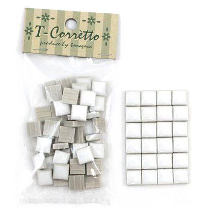 モザイクタイル T-コレット ホワイト 約10×10×4mm (10K-01) 50個入
