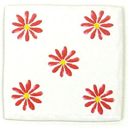 手書き風ハッピータイル花柄 ピンク 約97×97×7mm HY-025GW