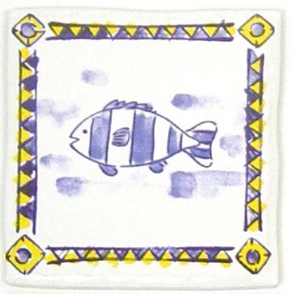絵タイル魚  約97×97×7mm ET-002