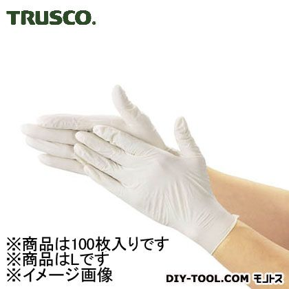 トラスコ 使い捨て極薄手袋(天然ゴムパウダーフリー) 白 L (TGL493L) 100枚 使い捨て手袋 手袋