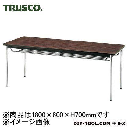 会議用テーブル棚付丸脚 ローズ 1800×600×700 TDS1860T