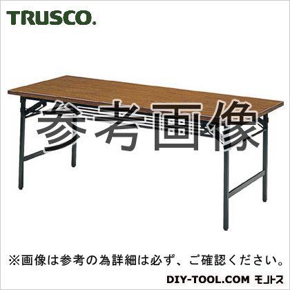 折りたたみ会議用テーブル棚付 チーク  1200×450×700 1245