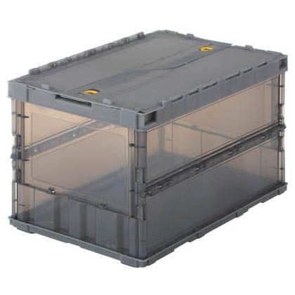 スケルコンオリコン50L スライドロック蓋付折りたたみコンテナ 透明黒 (TSK-C50B-BK)