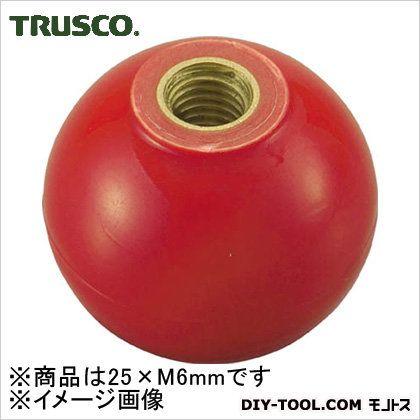 樹脂製握り玉 金具付 赤 25×M6mm PTPC256R