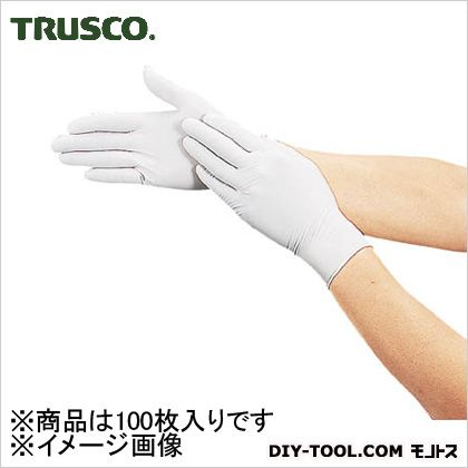 トラスコ 使い捨て極薄手袋ニトリル製粉付き ホワイト  L (DPm6981NL) 100枚 使い捨て手袋 手袋